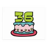 Bolo de aniversário das pessoas de 36 anos cartões postais