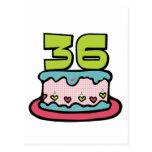 Bolo de aniversário das pessoas de 36 anos cartoes postais