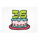 Bolo de aniversário das pessoas de 36 anos convite personalizados