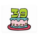 Bolo de aniversário das pessoas de 39 anos cartoes postais