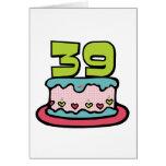Bolo de aniversário das pessoas de 39 anos cartões