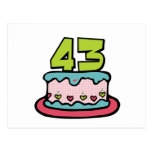 Bolo de aniversário das pessoas de 43 anos cartoes postais