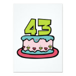 Bolo de aniversário das pessoas de 43 anos convite personalizado