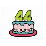 Bolo de aniversário das pessoas de 44 anos cartoes postais