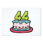 Bolo de aniversário das pessoas de 44 anos convite 12.7 x 17.78cm