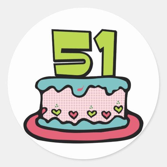Bolo de aniversário das pessoas de 51 anos adesivo