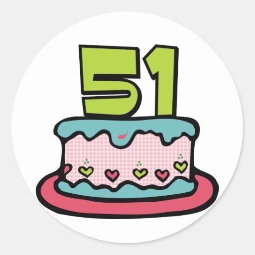 Bolo de aniversário das pessoas de 51 anos adesivos em formato redondos