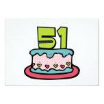 Bolo de aniversário das pessoas de 51 anos convite 12.7 x 17.78cm