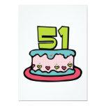 Bolo de aniversário das pessoas de 51 anos convites