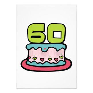 Bolo de aniversário das pessoas de 60 anos convite