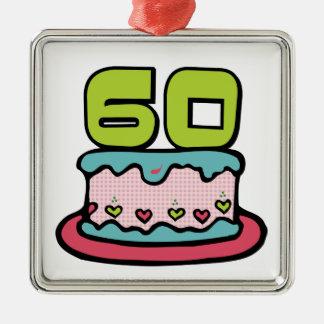 Bolo de aniversário das pessoas de 60 anos ornamento quadrado cor prata