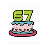 Bolo de aniversário das pessoas de 67 anos cartoes postais