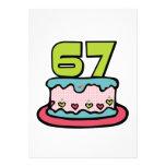 Bolo de aniversário das pessoas de 67 anos convites personalizado