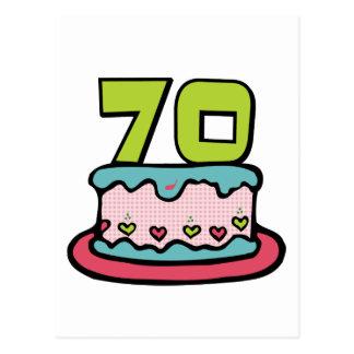 Bolo de aniversário das pessoas de 70 anos cartões postais
