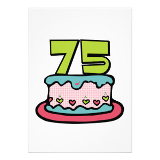 Bolo de aniversário das pessoas de 75 anos convites personalizados