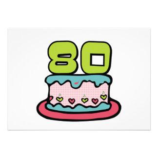 Bolo de aniversário das pessoas de 80 anos convites personalizados