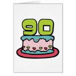 Bolo de aniversário das pessoas de 90 anos cartao