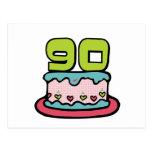 Bolo de aniversário das pessoas de 90 anos cartoes postais