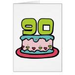 Bolo de aniversário das pessoas de 90 anos cartões