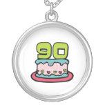 Bolo de aniversário das pessoas de 90 anos colar personalizado