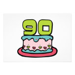 Bolo de aniversário das pessoas de 90 anos convite personalizado
