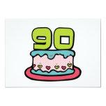Bolo de aniversário das pessoas de 90 anos convite 12.7 x 17.78cm