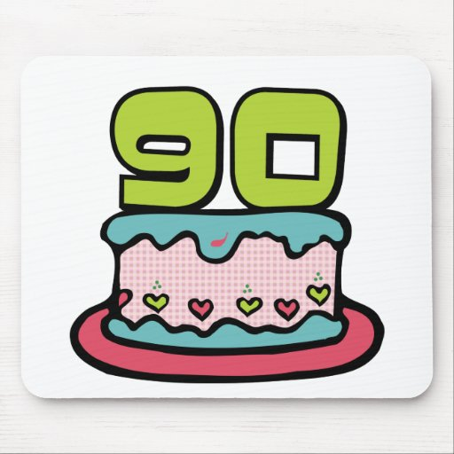 Bolo de aniversário das pessoas de 90 anos mouse pad
