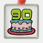 Bolo de aniversário das pessoas de 90 anos enfeite para arvore de natal
