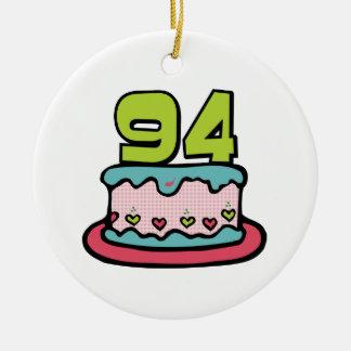 Bolo de aniversário das pessoas de 94 anos ornamento de cerâmica redondo