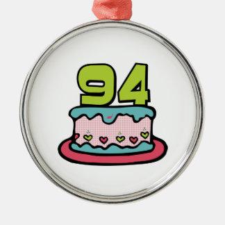 Bolo de aniversário das pessoas de 94 anos ornamento redondo cor prata