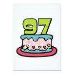 Bolo de aniversário das pessoas de 97 anos convite 12.7 x 17.78cm