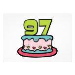 Bolo de aniversário das pessoas de 97 anos convites personalizados