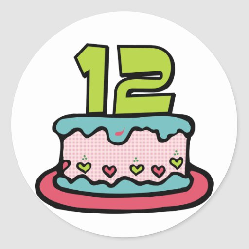 Bolo de aniversário do adolescente de 12 anos adesivo