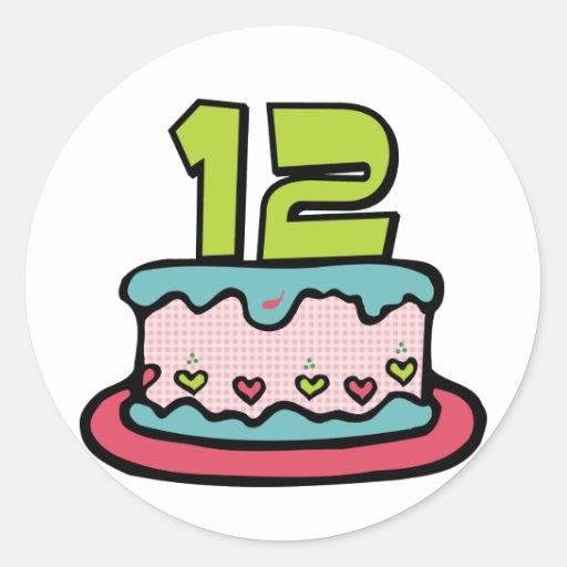 Bolo de aniversário do adolescente de 12 anos adesivo redondo