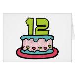 Bolo de aniversário do adolescente de 12 anos cartão