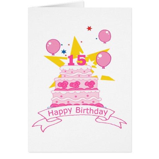Bolo de aniversário do adolescente de 15 anos cartão