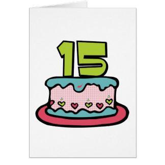 Bolo de aniversário do adolescente de 15 anos cartão comemorativo