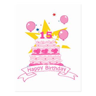 Bolo de aniversário do adolescente de 15 anos cartão postal
