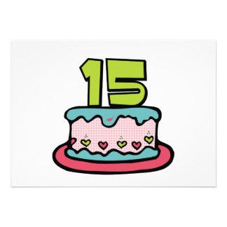 Bolo de aniversário do adolescente de 15 anos convites