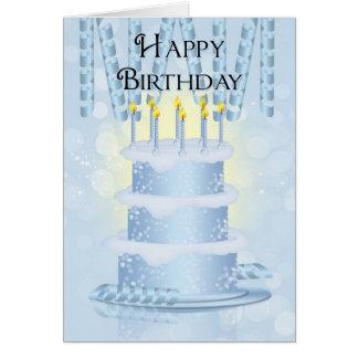 Bolo de aniversário e velas do cartão com fita do