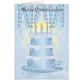 Bolo de aniversário italiano e velas do cartão