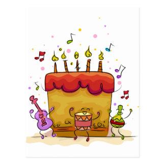 Bolo de aniversário musical cartão postal