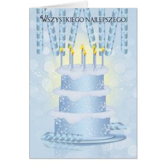 Bolo de aniversário polonês e velas do cartão
