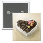 Bolo de casamento da forma do coração com flor, bóton quadrado 5.08cm