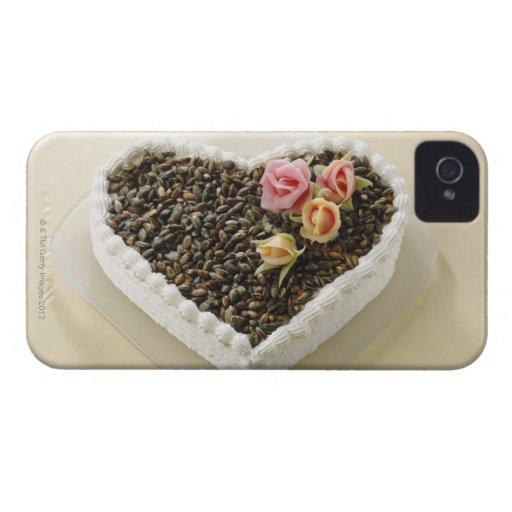 Bolo de casamento da forma do coração com flor, capa para iPhone 4 Case-Mate