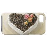 Bolo de casamento da forma do coração com flor, capa para iPhone 5