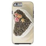 Bolo de casamento da forma do coração com flor, capa tough para iPhone 6