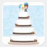 Bolo de casamento do chocolate adesivo quadrado