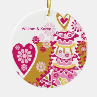 Bolo de casamento personalizado Keespake Ornamento De Cerâmica Redondo