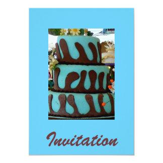 Bolo de chocolate azul convite 12.7 x 17.78cm